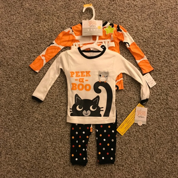 Carter's Halloween Black Cat Baby Girl's 12 Month Pajamas 2 Piece
